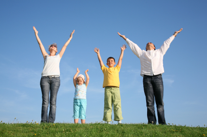 family-reaching-up